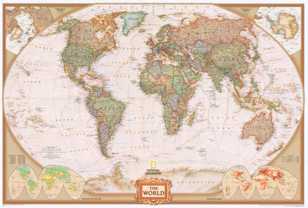 30x43 World Modern Day Antique Wall Map Framed Edition eBay