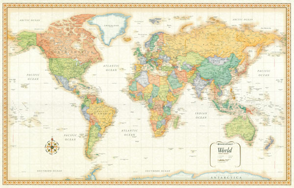 32x50 Rand Mcnally World Classic Wood Framed Wall Map