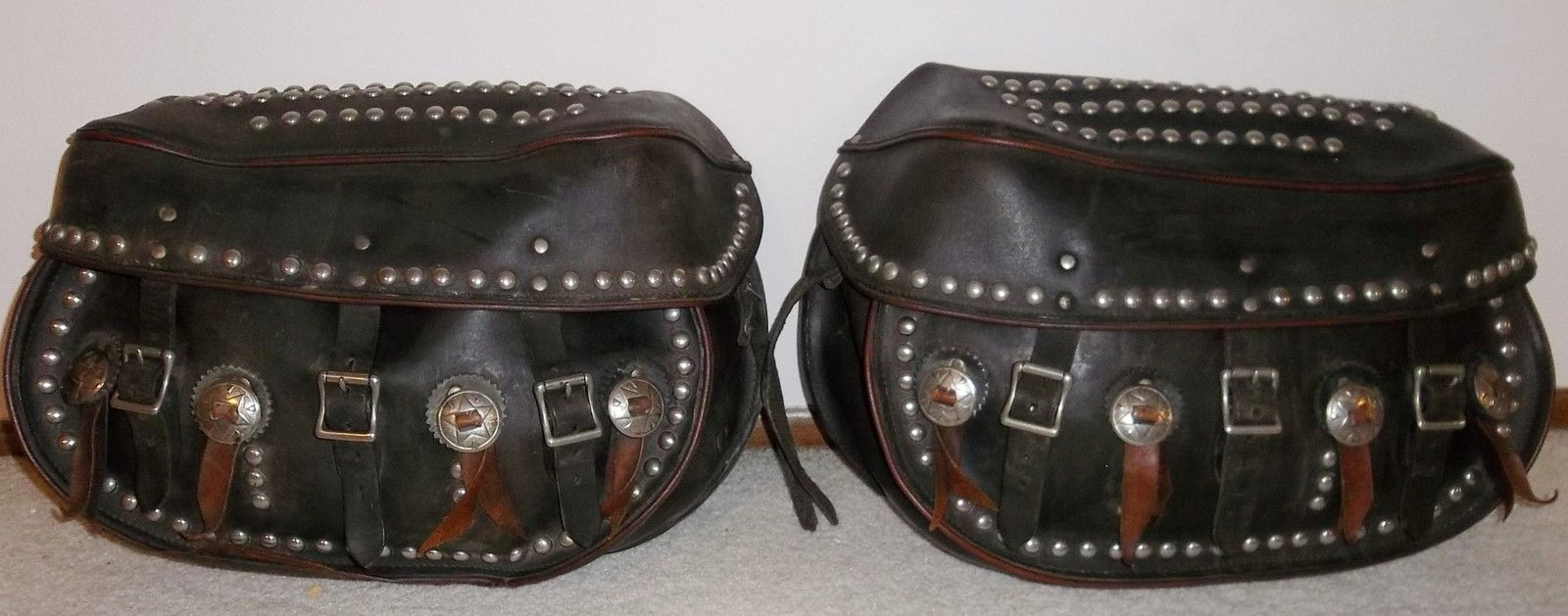 Harley Panhead Knucklehead Leather Saddlebags Vint