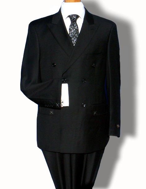 Affordable Bond: Moonraker Black Peak Lapel Double-Breasted Suit