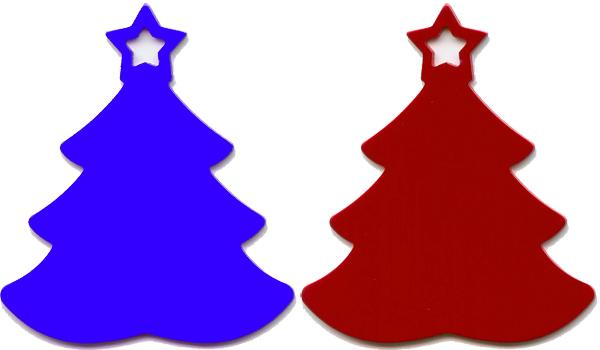 24 Christmas Trees Laser Red Gold Blue Green Beautiful!