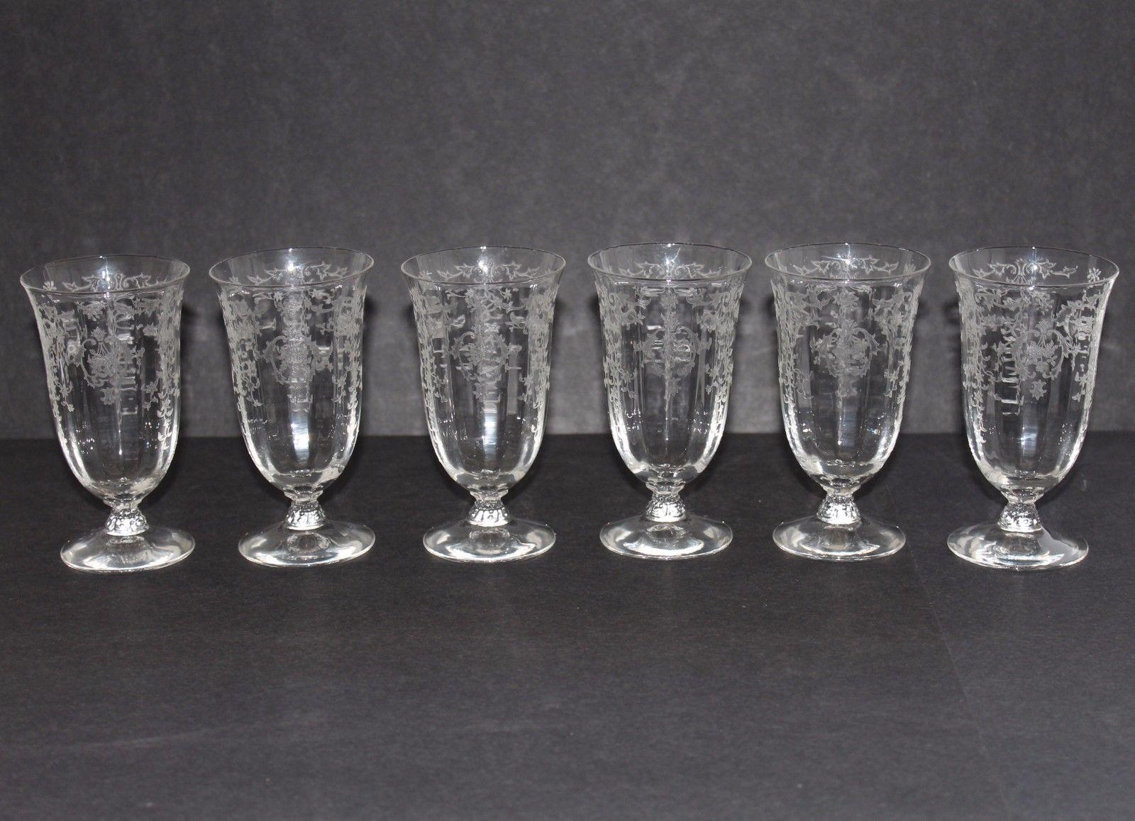 "Fostoria NAVARRE Etched 4 5/8"" Juice Glasses Set o"