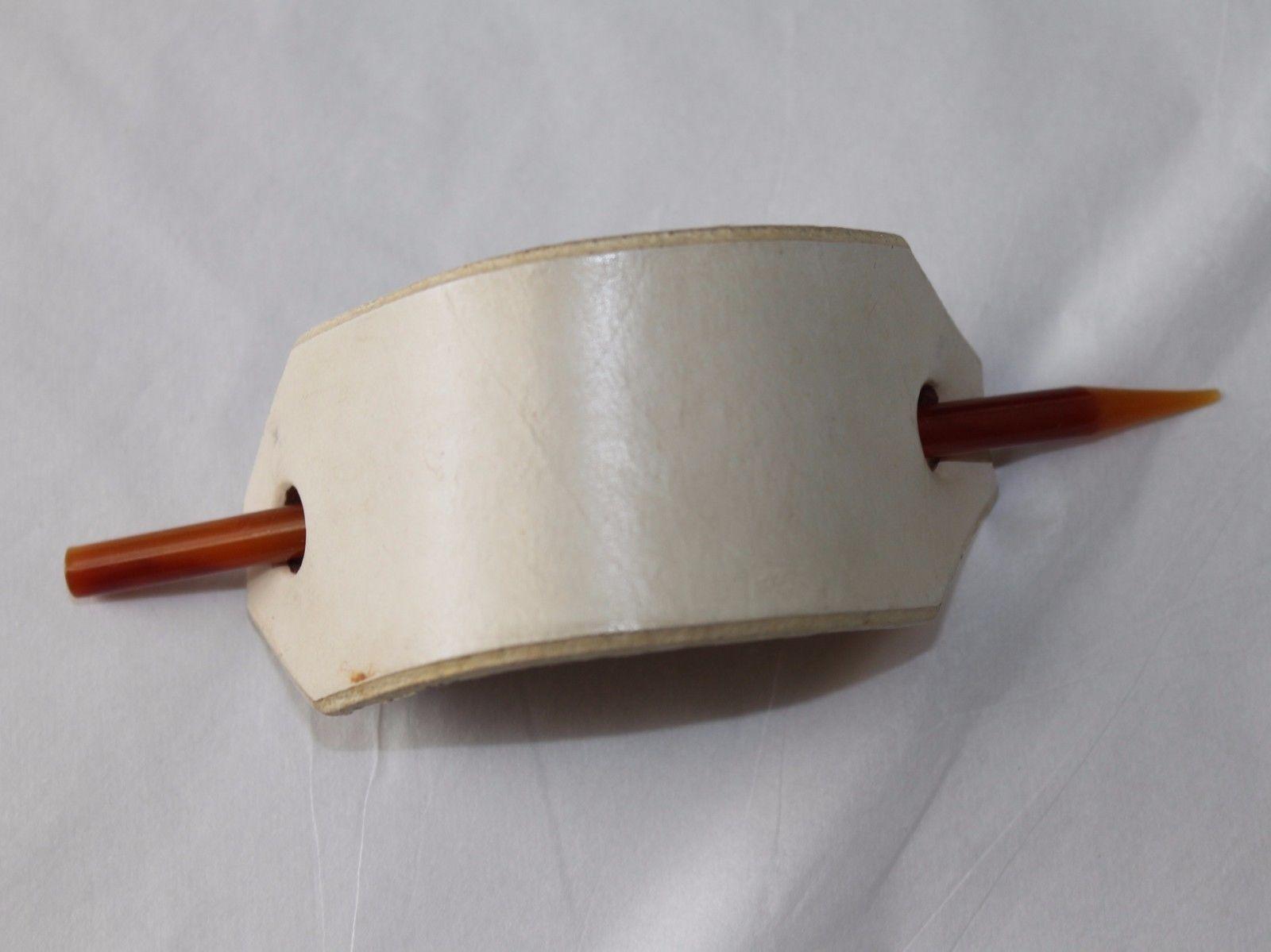 Vintage Handmade Off White Leather Hair Holder Pon