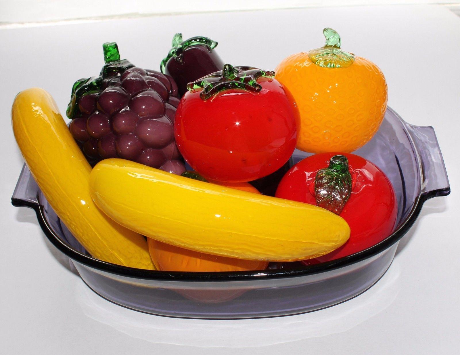 8 MURANO Style Art Glass Fruits & Vegetables