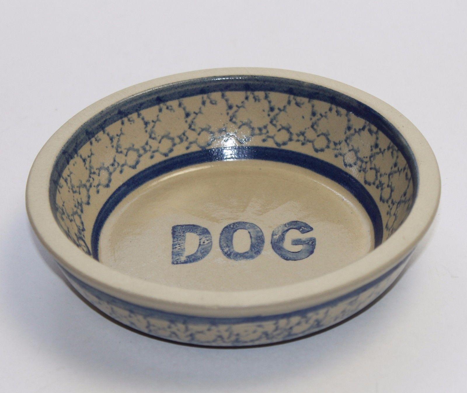 BBP Beaumont Brothers Pottery Salt Glazed Blue Spo & BBP Beaumont Brothers Pottery Salt Glazed Blue Spongeware Dog Bowl ...