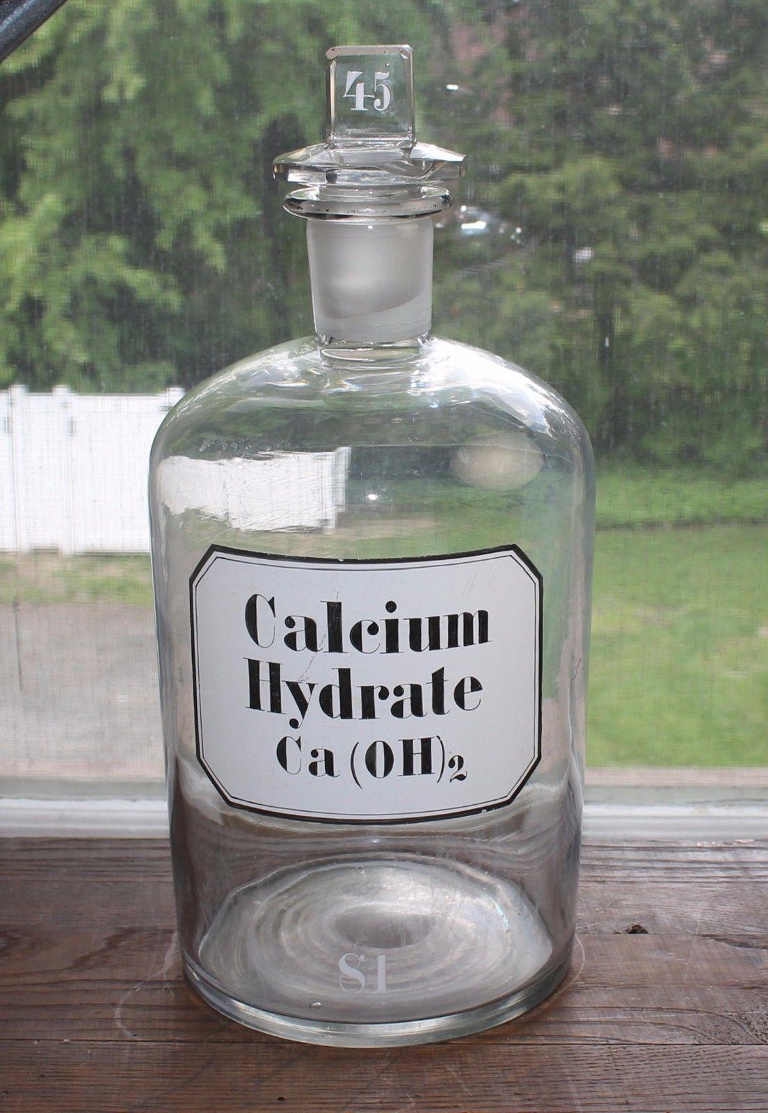 MASSIVE Antique Apothecary Lab Bottle Glass Label