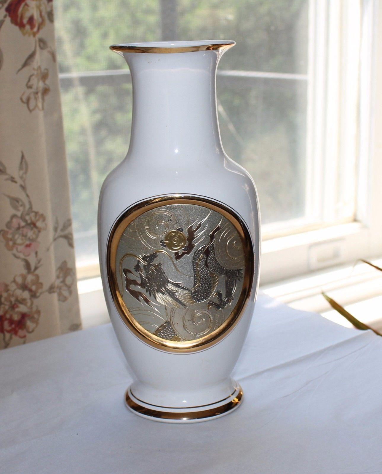 Art of Chokin Japanese Vase 24K Gold DRAGON Motif