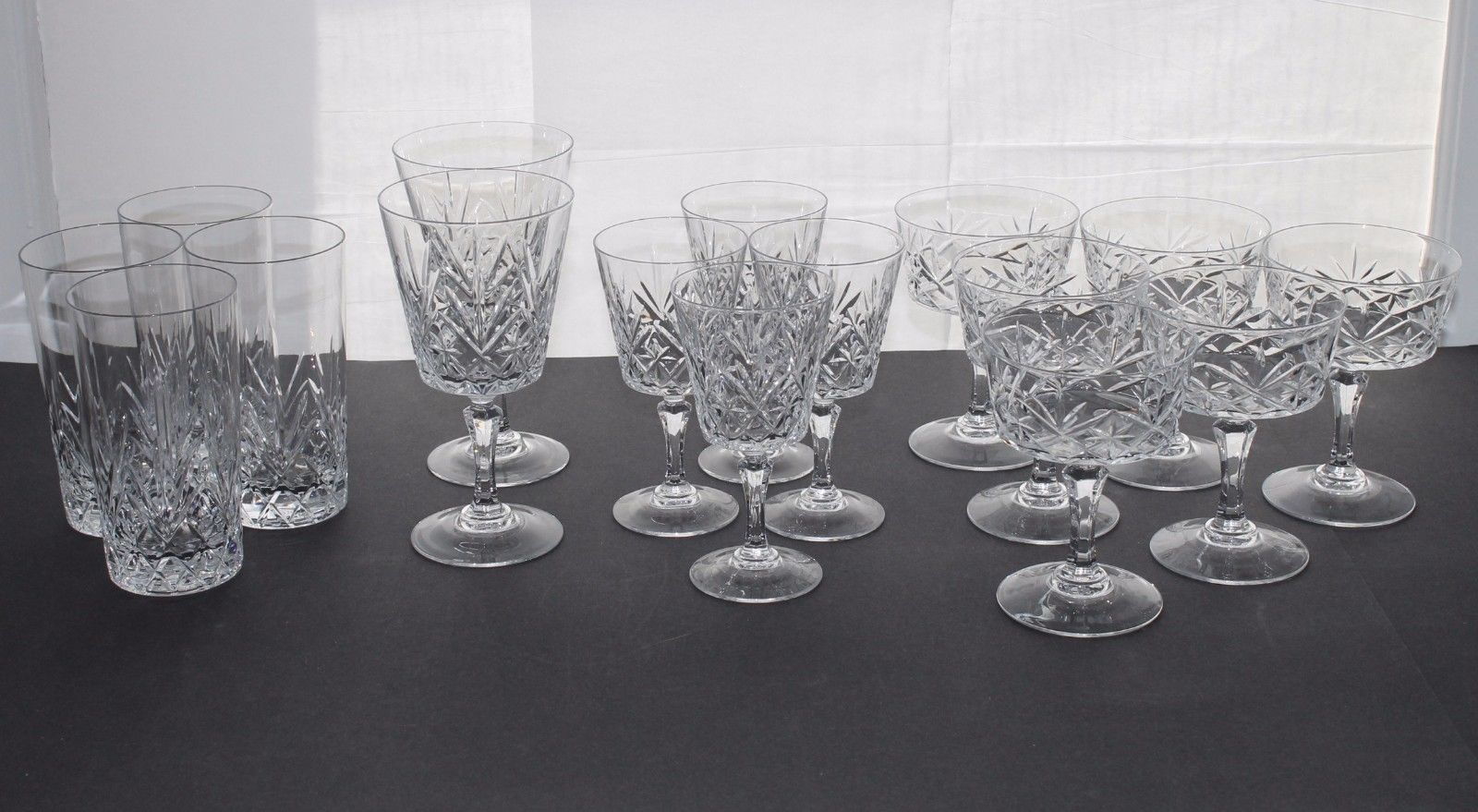 Set of 16 HIGH PING Crystal Tumblers, Water & Wine