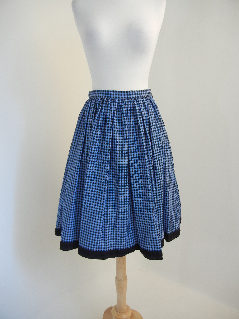 e29e852db9cef1 Details about Prada (Ita.38) NWT Fall 2017 Blue/Black Gingham/Check A-Line  Iconic Pleat Skirt