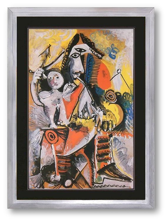 bild pablo picasso musketeer and cupid lithographie mit rahmen ebay. Black Bedroom Furniture Sets. Home Design Ideas