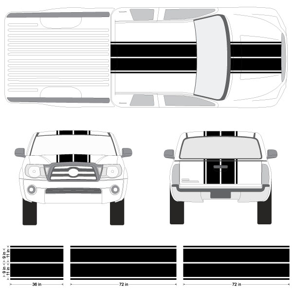 Toyota tacoma dual rally racing stripes