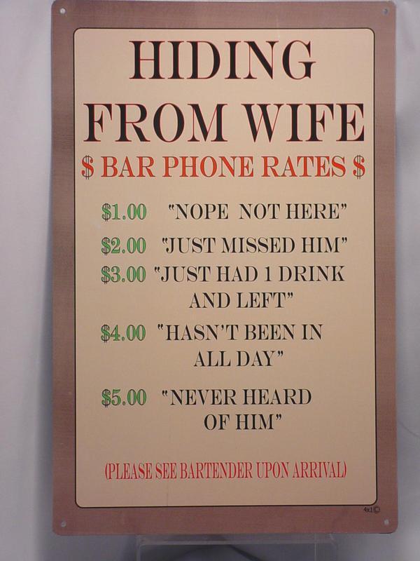Man Cave Tin Signs : Metal hiding from wife sign bar man cave garage tin signs