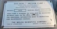 WELCH MODEL 1402 DUOSEAL VACUUM PUMP