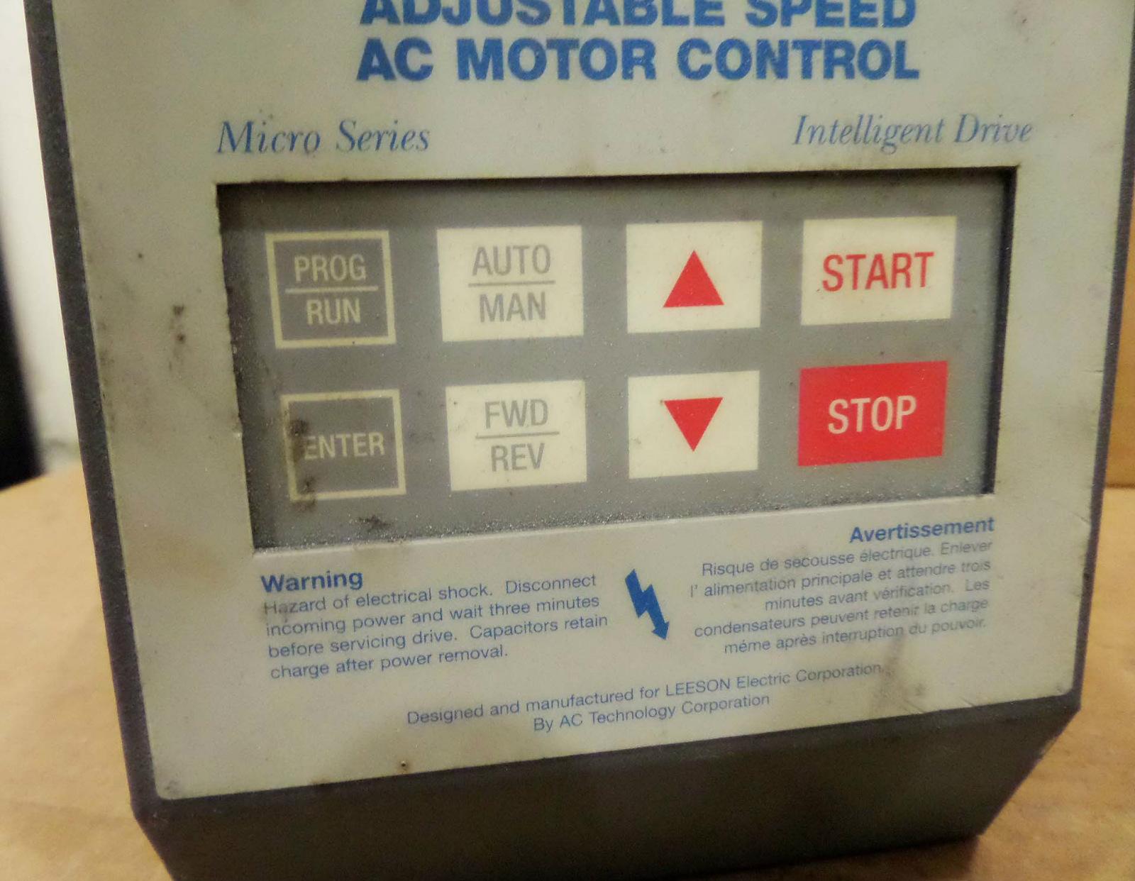 Leeson Speedmaster Adjustable Speed Ac Motor Control Micro
