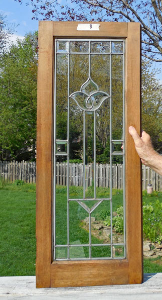 Antique Beveled Leaded Stained Glass Cabinet Door Window Ebay