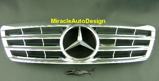 chrome front grill for 00 07 mercedes benz w203 c class. Black Bedroom Furniture Sets. Home Design Ideas