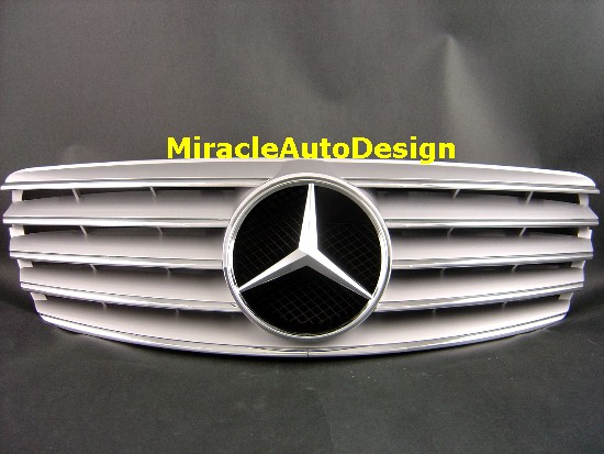 Silver front grill for 2002 2006 mercedes benz pre for Mercedes benz custom grills