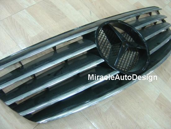 Black Front Grille Set For 2002 2005 Mercedes Benz W220 S