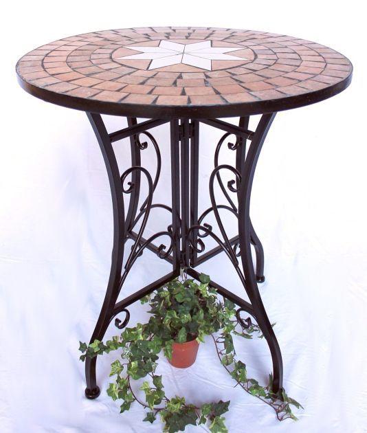 tisch mosaik merano 12001 gartentisch d 60cm metall beistelltisch esstisch ebay. Black Bedroom Furniture Sets. Home Design Ideas