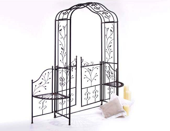 rosenbogen 18602 aus metall schmiedeeisen mit tor 215 x 210 gartentor ebay. Black Bedroom Furniture Sets. Home Design Ideas