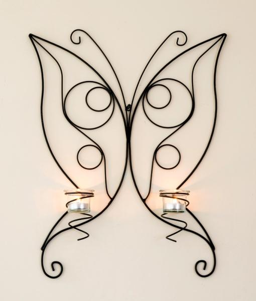 bougeoir mural papillon 54cm supports muraux de bougie en m tal porte bougies ebay. Black Bedroom Furniture Sets. Home Design Ideas