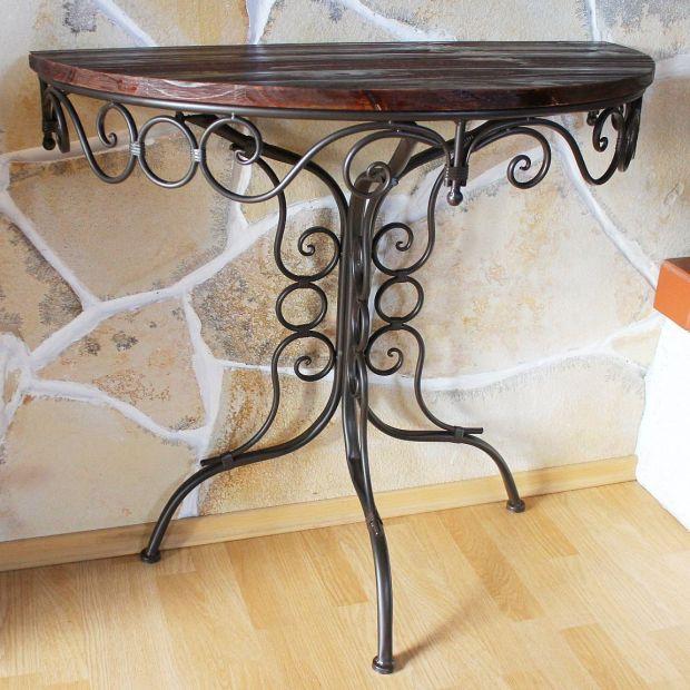 tisch wandtisch hx12582 beistelltisch konsole halbrund 82cm wandkonsole ebay. Black Bedroom Furniture Sets. Home Design Ideas