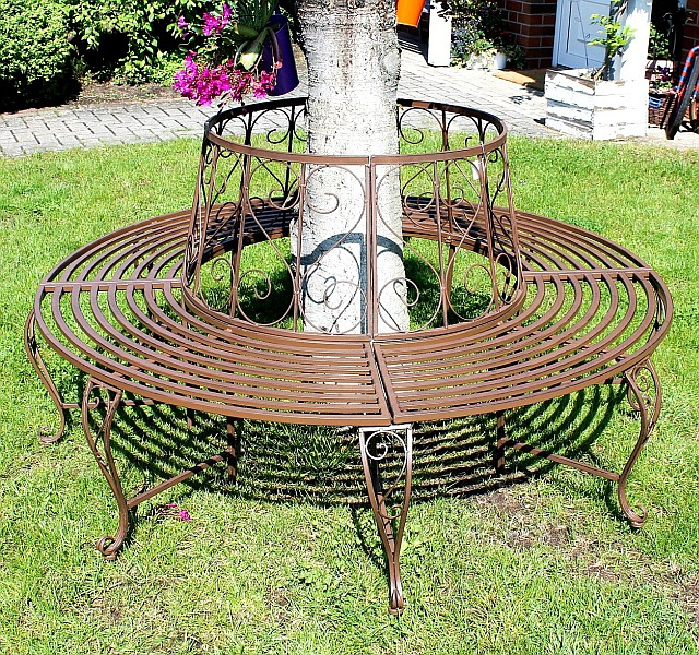 round bench from metal bench 120749 tree bench garden seat bench d 160cm h 84cm ebay. Black Bedroom Furniture Sets. Home Design Ideas
