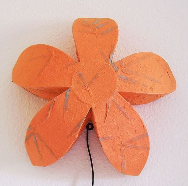 wandlampe lampe wandleuchte blume stern 45cm orange neu ebay. Black Bedroom Furniture Sets. Home Design Ideas