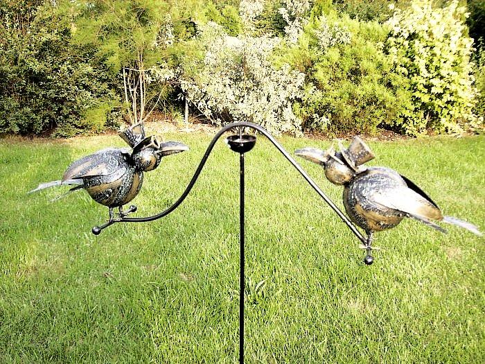 2 raben windspiel rabe wippe metall breite 65cm neu ebay. Black Bedroom Furniture Sets. Home Design Ideas