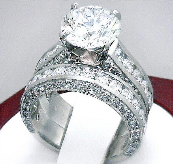 3 2 Carat Diamond Engagement Ring Mount & Wedding Band Plat or 18K White