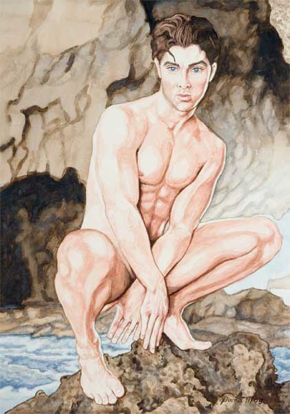 homme nu Oh boy watercolor print nude male in back shed gay interest