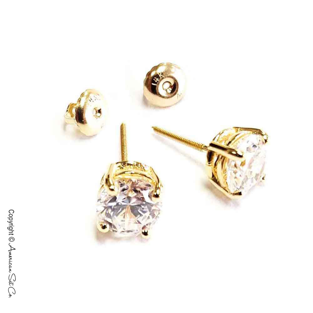 2d3e79be6134 14k Yellow Gold 1ct Natural Round Diamond Stud Earrings 4 .
