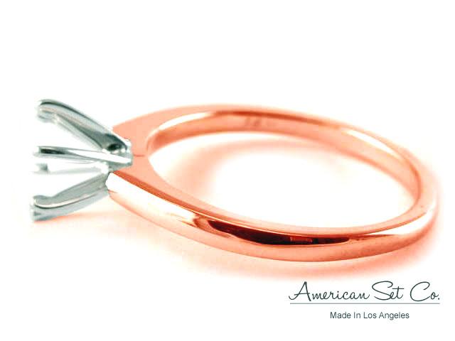 18K ROSE GOLD PLAIN DIAMOND ENGAGEMENT RING SOLITAIRE SETTING eBay