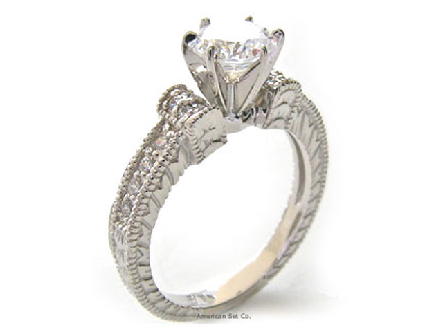 platinum antique pave engagement ring solitaire