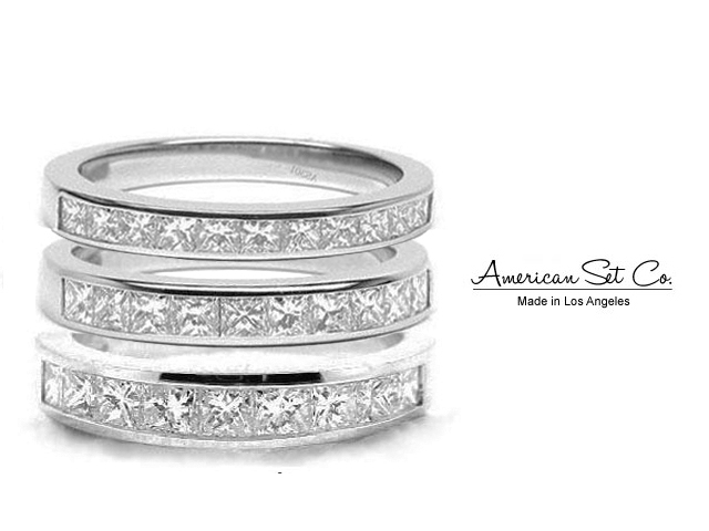 PLATINUM CHANNEL SET PRINCESS CUT DIAMOND HALF ETERNITY WEDDING