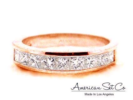 14k rose gold channel set princess cut f vs 1ct diamond wedding band ring