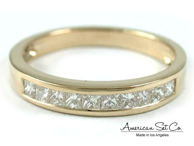 18K YELLOW GOLD CHANNEL SET PRINCESS CUT F VS 50ct DIAMOND Wedding BAND RING