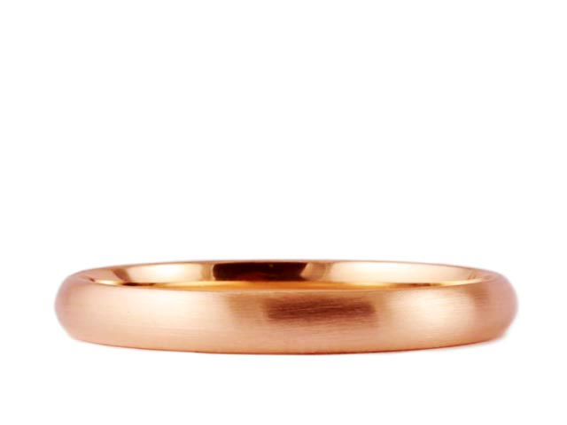 2mm 14k Rose Gold Round Brushed Comfort Fit Wedding Band Ring Engagement