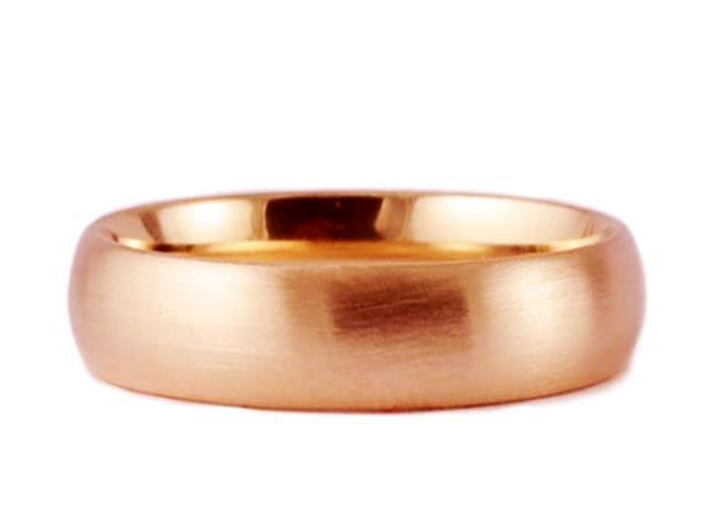 7mm 18K ROSE GOLD ROUND BRUSHED MATTE COMFORT FIT WEDDING BAND RING