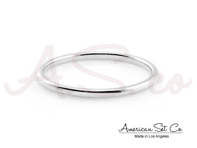 14k white gold tiny band knuckle ring stackable wire ring