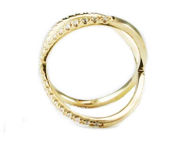 14k WHITE YELLOW ROSE GOLD PAVE DIAMOND X RING