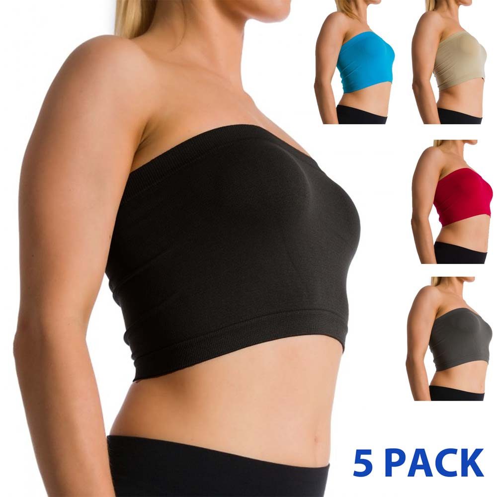 86305ac6a62 Details about 5 Pack Seamless Strapless Bra Bandeau Fits Fashion Tube Top  Sports Bra Yoga