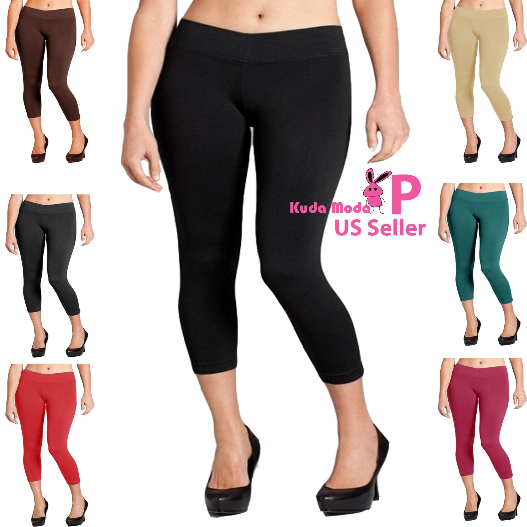 Seamless Spandex Capri Stretch Leggings Basic Mid Calf Tight Long Pants One Size