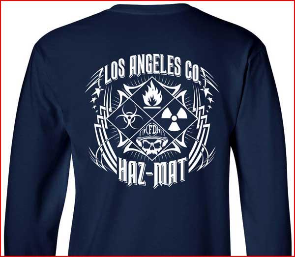 Los angeles county haz mat t shirt tribal m l xl 2xl 3xl for Los angeles t shirt company