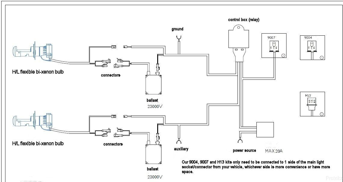 xentec h13 wiring diagram xentec image wiring diagram 35w xentec bi xenon hid kit conversion hb1 hb2 hb5 9003 9008 h4 on xentec h13