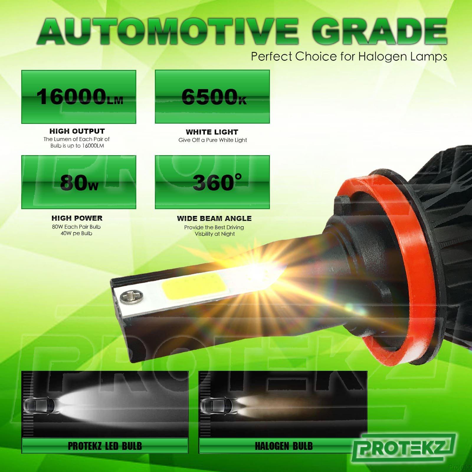Protekz Car 9000LM H7 LED Conversion Headlight KIT 6500K Bulbs Xenon White New