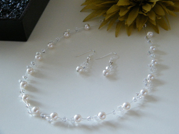 Brautschmuck set swarovski  Brautschmuck,Collierset, Swarovski Perlen u. Kristalle | eBay