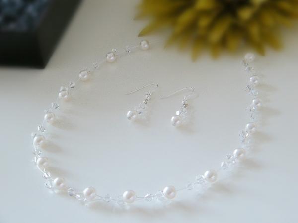 Brautschmuck swarovski kristallen  Brautschmuck,Collierset, Swarovski Perlen u. Kristalle | eBay