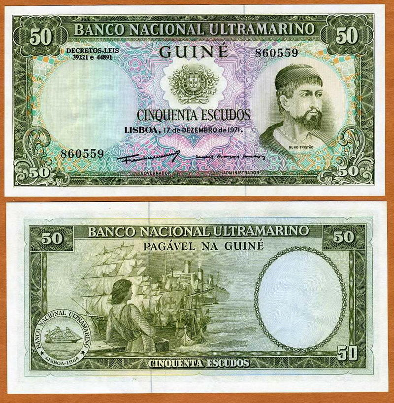 P-44 CV = $50 UNC Portuguese Guinea 1971 50 Escudos