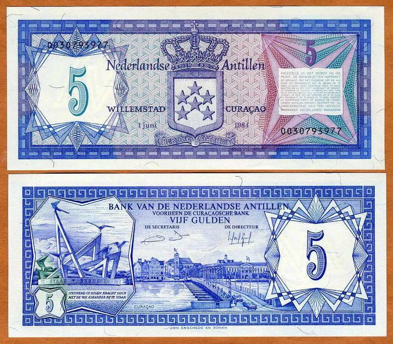 NETHERLAND ANTILLES 5 GULDEN 1984 P 15 UNC